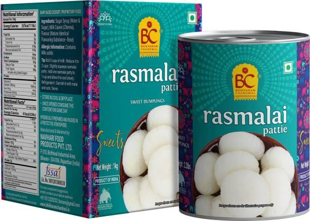 BHIKHARAM CHANDMAL Rasmalai Tin 1kg - Pack of 1 Tin