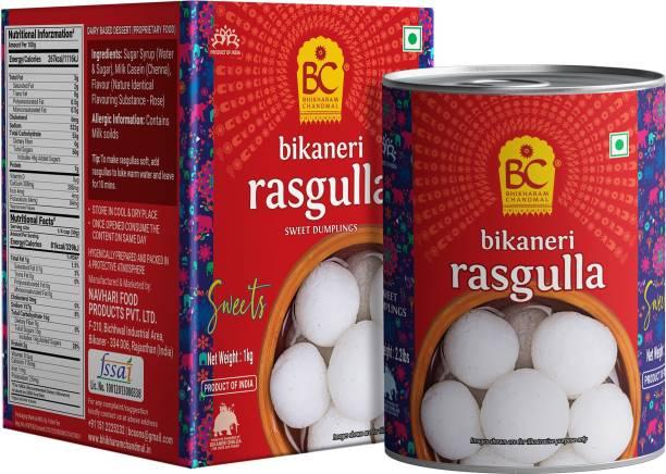 BHIKHARAM CHANDMAL Rasgulla Tin - 1kg (Pack of 1) Tin