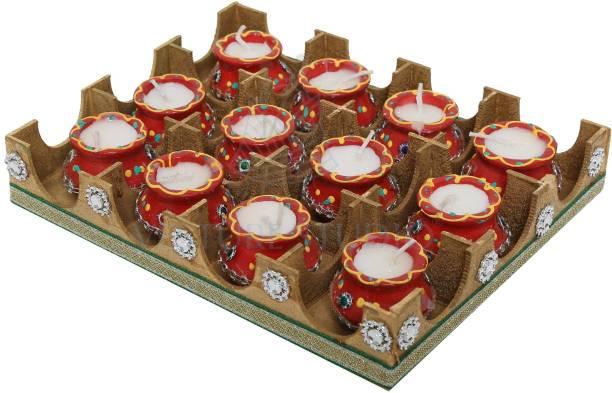 VESTURE STUDIO Kundan Round Diwali matka Diya, kalash kundan diya, Round Shaped,Diwali Diva, Diwali Diya, Puja Diya, Pooja Deepak, Candles, Home Decoration,Rangoli Light Diya Candle