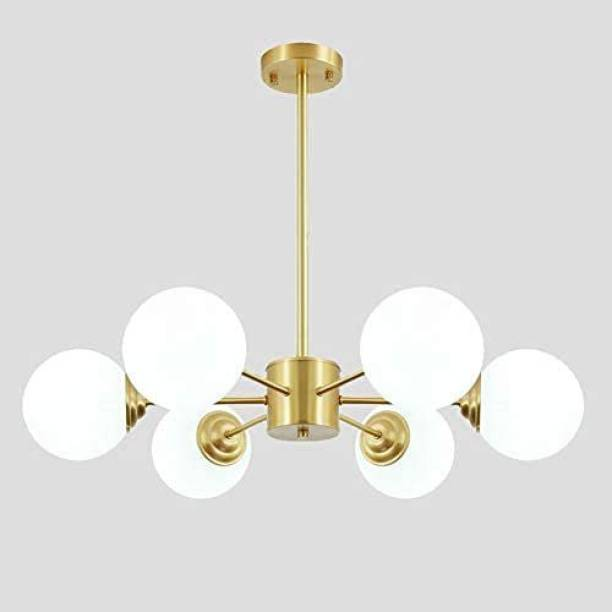 HomesElite 6 Lights Chandelier Modern Ceiling Light Brass Finish Beautiful Jhoomer Hanging Lighting Scones Stylish Classic Chandelier For Hall Dining Kitchen Living Room Hallway Modern Look Interior Fixture Home Decoration,Gold Brass Finish 6 Holder (3 in One LED Bulb Included) Chandelier Ceiling Lamp
