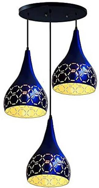 HomesElite 3 Cluster Metal Cutting Design Stylish Classic Balloon Shape Ceiling Hanging Pendant Light Lamp For Hall Dining Kitchen Living Room Hallway (Blue Color) (Bulb Not Included) Chandelier Ceiling Lamp