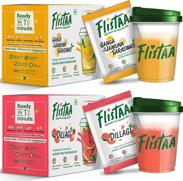 FLISTAA Orange,Mosambi,Pineapple n Watermelon,Strawberry , Instant Drink Mix 100% Natural Fruit Powders