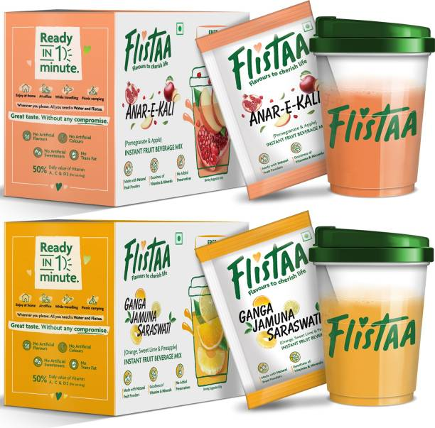 FLISTAA Orange,Mosambi,Pineapple / Pomegranate,Apple, Instant Drink Mix 100% Natural Fruit Powders