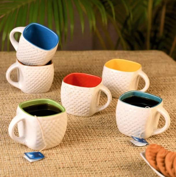Zaar Pack of 6 Ceramic, Bone China Trending Premium Quality Cup Set
