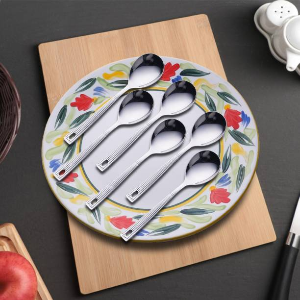 Shri & Sam Royal Soup Spoon Pack of 6 Stainless Steel Soup Spoon Set