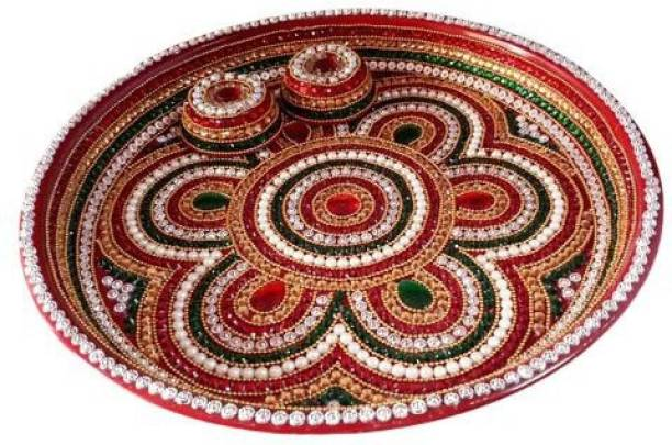 Artistry craft Pearl & Stones Studded Indian Traditional Decorative Pooja thali Beautiful Ethnic Gift, Indian Handicraft, Pooja Thali Set -12 inch Steel