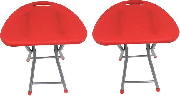 Branco Living Room Garden Office Folding Step Stool for Kids & Adults Set of Two- Red Outdoor & Cafeteria Stool