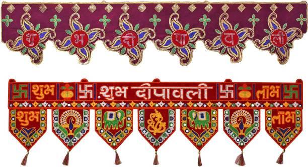 bandhan Traditional Art Handmade Door Bandarwal toran for Home Décor Hangings for Decoration (Multicolour) Set of 2 Different Design-C37 Toran