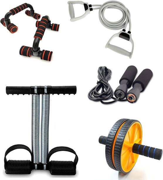 LIVOX Tummy Trimmer, Ab Wheel Roller and Toning Tube, Pushup Bar With Skipping Rope Ab Exerciser