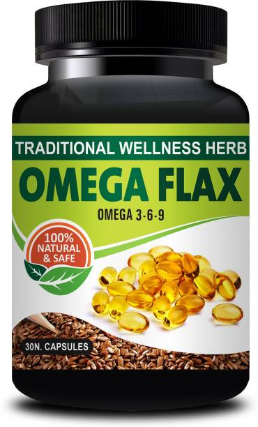 inlazer Omega Flax Ayurvedic Capsules For Maintenance of Essential Fatty Acids, promotes digestive health, promotes healthier skin and hair, high quantities of antioxidants, helps with symptoms of menopause 100% Herbal