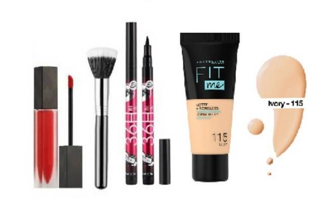 Lenon Beauty makeup kit fit me matte+poreless liquid tube foundation.matte me liquid lipstick- red.peofessional cosmetic foundation face blush powder makeup brush.yanqina 36h eyeliner 2 waterproof