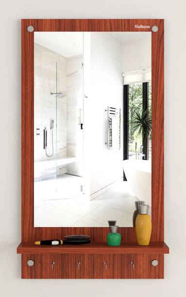 Madhuran Madhuran Amey Wall Mounted Prelaminated Engineering Wood Dressing Wall Mirror Outer Size 31.4x17.1 inch Mirror Size14X24 inch Color Classic Walnut with 1 Shelf Size 17.1X4.4 inch with 4 Hooks Set of 1 Engineered Wood Dressing Table