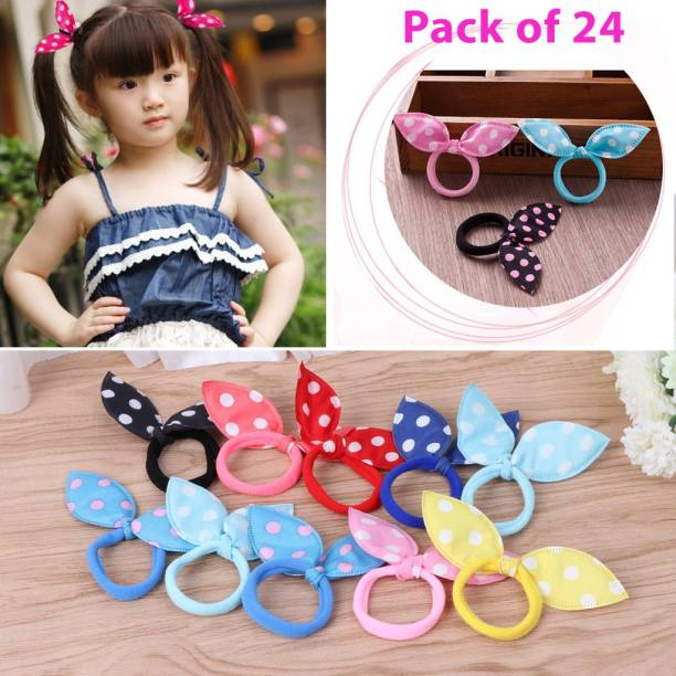barakath Women Girls Colorful Printing Rubber Band Cute Rabbit Ears Bowknot Floral Hair Rope Ponytail Holder Scrunchies Random Color (Pack of 24) Hair Band