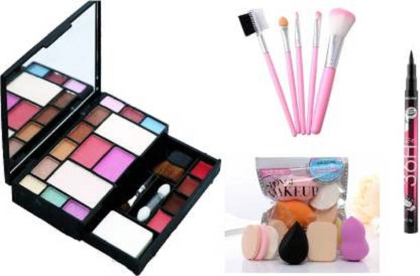 Townplaza Fashion Makeup Kit + 5 Piece Brush Set + Me Now Makeup Sponges + Yanqina Eyeliner Black