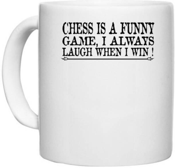 UDNAG White Ceramic Coffee / Tea 'Chess   chess a funny' Perfect for Gifting [330ml] Ceramic Coffee Mug