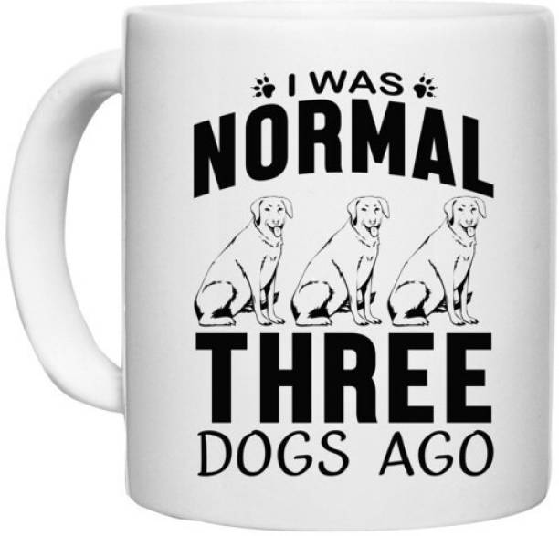 UDNAG White Ceramic Coffee / Tea 'Dog   I was normal' Perfect for Gifting [330ml] Ceramic Coffee Mug