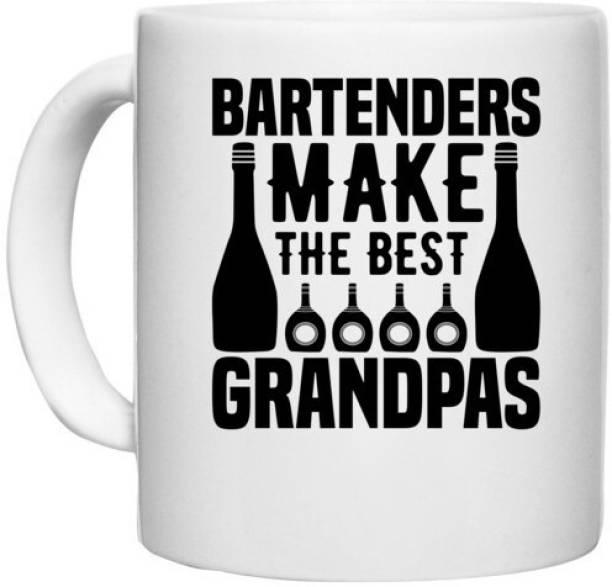 UDNAG White Ceramic Coffee / Tea 'Bartender   Bartenders make The best' Perfect for Gifting [330ml] Ceramic Coffee Mug