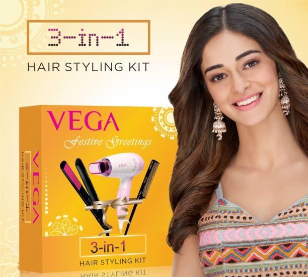 VEGA 3-In-1 Hair Styling Kit (Straightener, Dryer & Comb), VGGP-07 Personal Care Appliance Combo