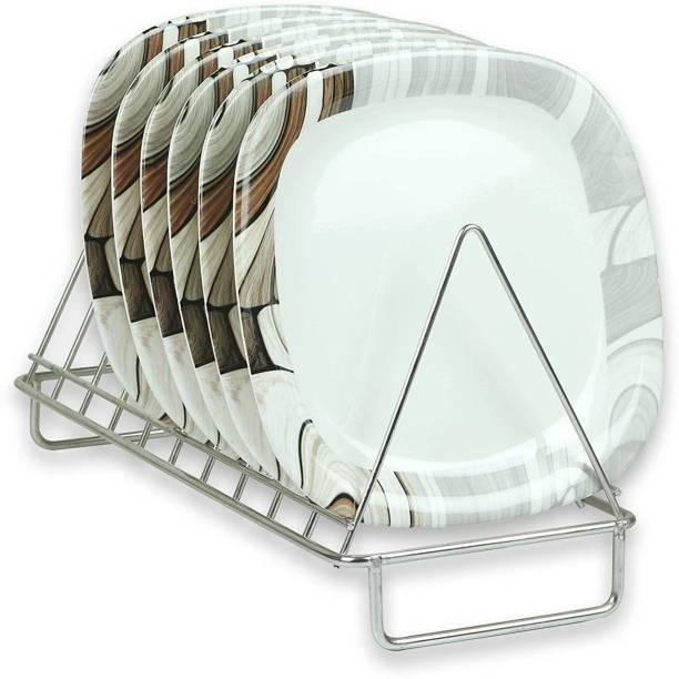 Golden Fish White Base Border Printed Square Melamine Quarter Serving Plates (Set of 6 ; 7 Inches Half Plate