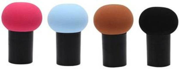 Lenon Beauty 4pcs Makeup Powder Puff with Case Mushroom Head Beauty Sponge Applicator Foundation Puff Brush