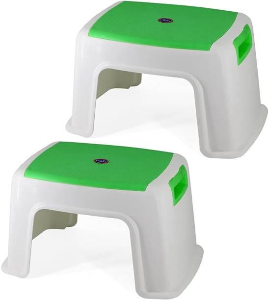 Branco Bathroom Plastic Stool - Toto (White & Green) Bathroom Stool