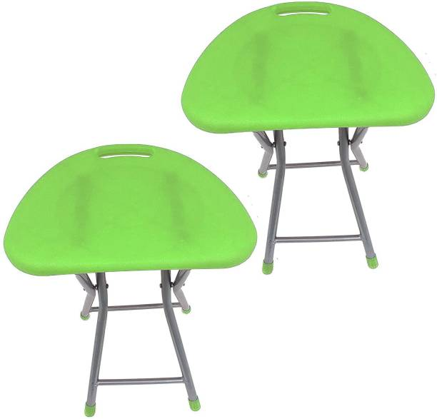 Branco Living Room Garden Office Folding Step Stool for Kids & Adults Set of Two- Green- Outdoor & Cafeteria Stool