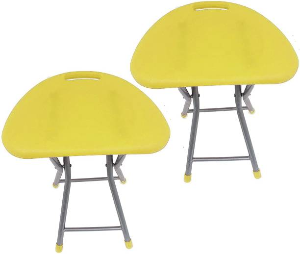 Branco Living Room Garden Office Folding Step Stool for Kids & Adults Set of Two- Yellow- Outdoor & Cafeteria Stool