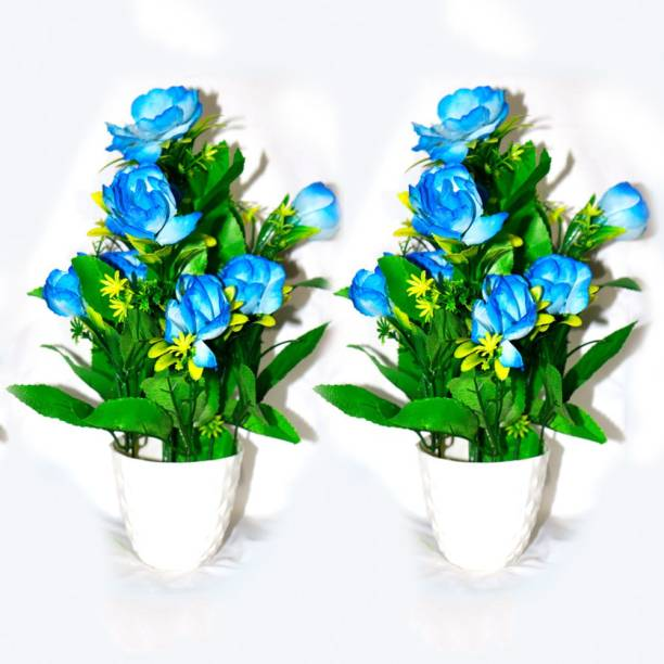 HANIRY flower Plant with Stylish white Pot And Sky Blue Bonsai Wild Artificial Plant with Pot Plastic Flower Basket