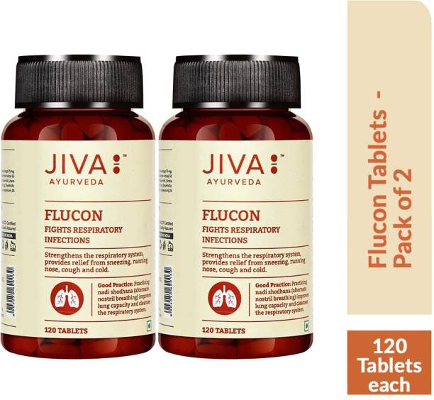 Jiva Flucon Tablets - Fights Allergy Naturally - 120 Tablets Each - Pack of 2