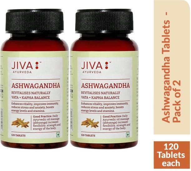 Jiva Ashwagandha Tablet - Revitalise Body & Mind - 120 Tablets - Pack of 2