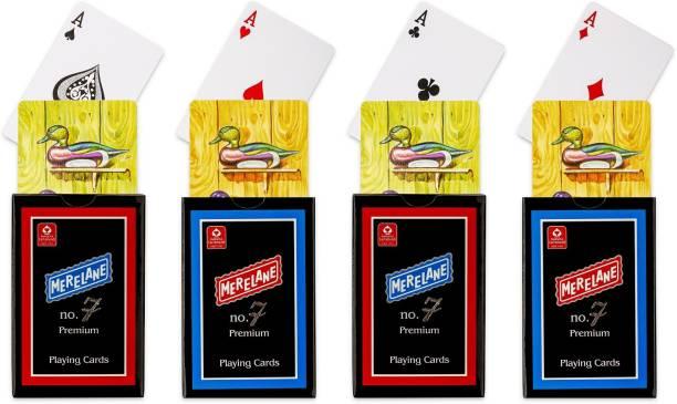 Merelane 7 Premium Premium Playing Cards, Bridge Size, 4 Decks of Cards