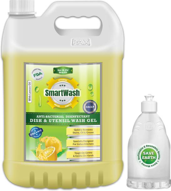 SmartWash Anti-Bacterial Disinfectant Strong Germ Protection Comes with Empty Refillable Dispenser Bottle Dish Cleaning Gel