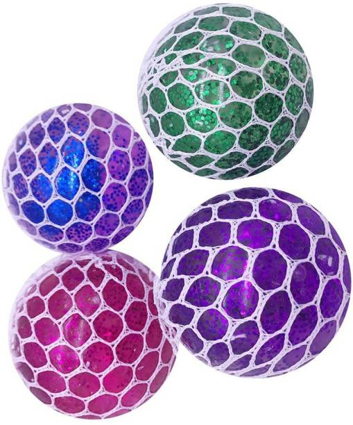 TEMSON Mesh Squish Ball Stress Reliver For Kids & Adults (Multicolor) (Set Of 4) Mesh Squish Ball Gag Toy