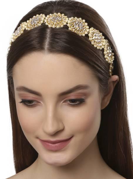 Karatcart Floral Shape Kundan Studded Hair Band