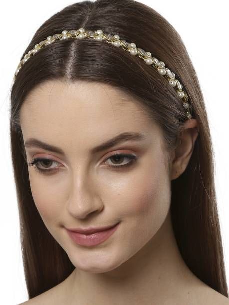 Karatcart Gold Plated Kundan Studded Hair Band