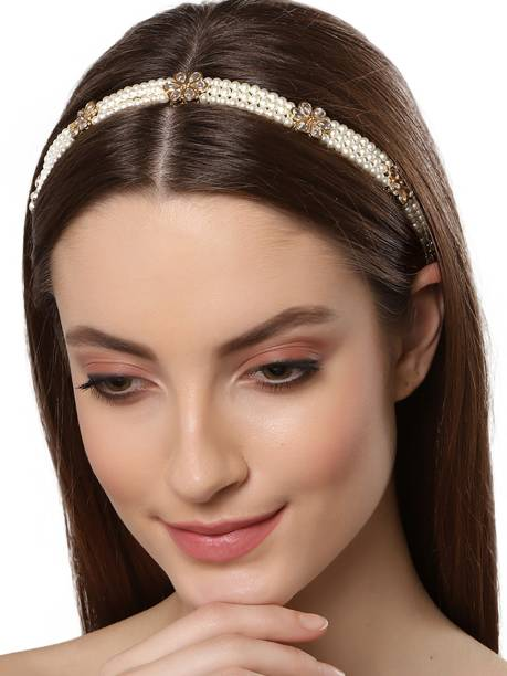 Karatcart Gold Plated Beaded Kundan Hair Band