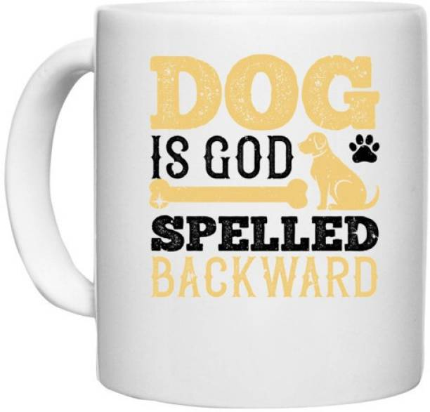 UDNAG White Ceramic Coffee / Tea 'Dog   Dog is spelled backward' Perfect for Gifting [330ml] Ceramic Coffee Mug