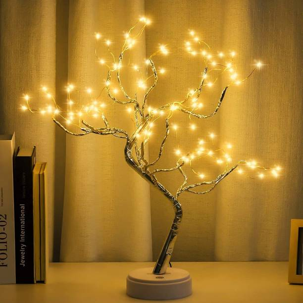 Mindfied 20 inch Bonsai Lighted Tree with 36 Pearls LED, Decorations Table Tree Lamp Lights, Battery/USB Operated, DIY Artificial Tree for Wedding Party Gifts Indoor Outdoor Decor (Warm White) Table Lamp (29 cm, Yellow) Table Lamp