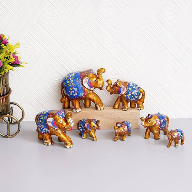 Brothers Creation HandCrafted Set of 7 Elephant For Home Decor And Gift Purpose Decorative Showpiece  -  12.5 cm