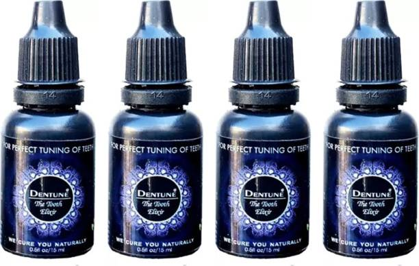 """dentune The Tooth Elixir 2 Drop Unique Liquid ToothPaste For (Bad Breath, Swollen And Bleeding Gums And Toothache) """"15ML Each"""" (Pack Of 4) Each Toothpaste"""