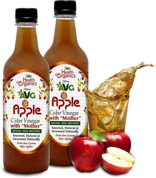 AVG Health Organics Apple Cider Vinegar- With Mother, Raw,Natural,Unfiltered(Pack-2) Vinegar