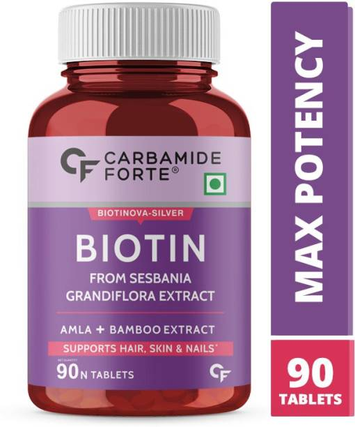 CARBAMIDE FORTE Biotin 10000mcg with Keratin, Piperine & Bamboo Extract Tablets for Hair Growth