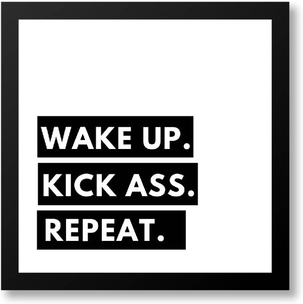 Framed Poster for Room Decoration Wake up, Kick, Repeat Art Print for Living Room, 7x7 inches_S-PSFMDBK01SQ06-GAT21015 Fine Art Print