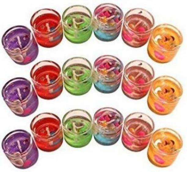 RMC Pack of 18 Smokeless Decorated with GEL Glass Candles/Tealight/Diya Filled with Jelly & for Party,Festivals,Diwali,Weddings Candle Candle