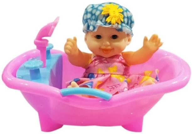 IndusBay Bath Time Doll Baby Doll Bath Tub Toy - Baby Doll Bathroom Set Doll with Removable Clots - Shower Bathtub Baby Doll for Kids Bath Toy Bath Toy