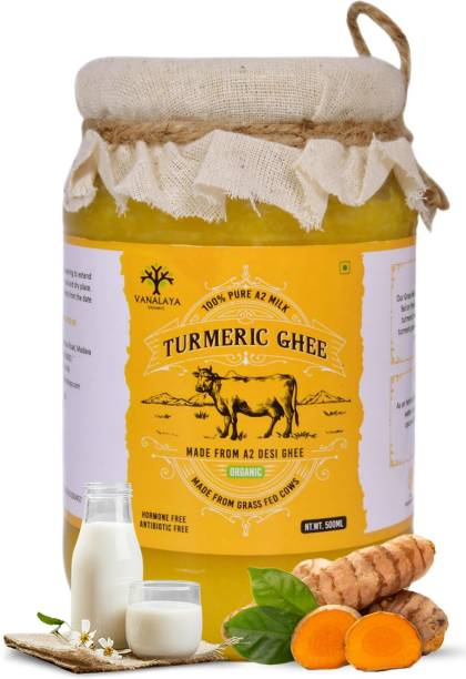 Vanalaya Turmeric infused Desi Cow Ghee for joint pain and digestion 500ml 500 ml Glass Bottle
