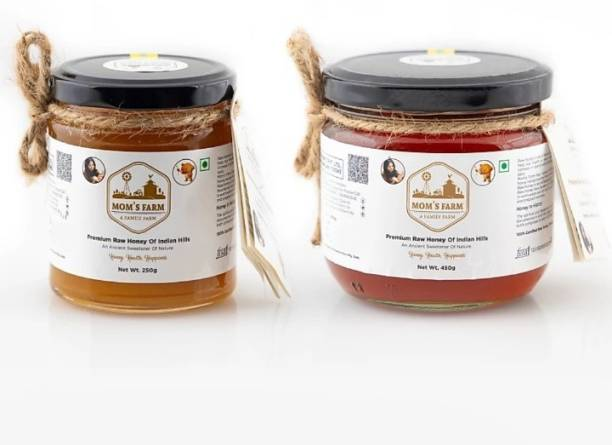 moms farm Premium Raw Honey of Indian Hills, An Ancient Sweetener of Nature Combo of 250gm + 450gm