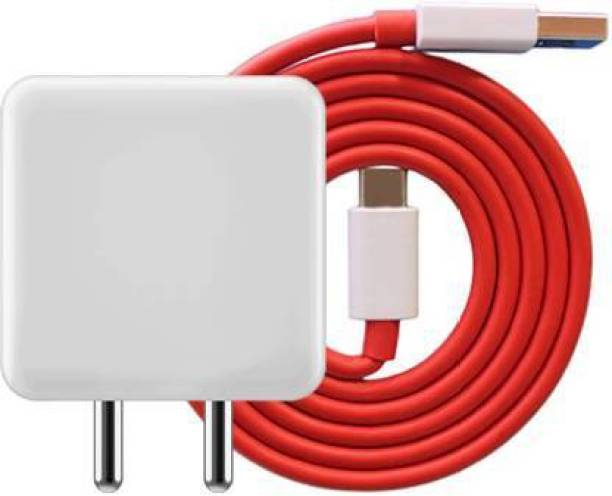 GLOXY 20W Warp Charger Adapter with TYPE C Warp Charging Cable | 100% Warp Charging Supported for Mobiles 20 W 6A Mobile Charger with Detachable Cable (White, Red, White, Cable Included) 1 m COPPER USB Type C Cable