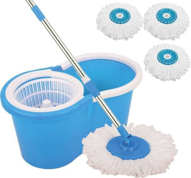 CREZON Magic Dry Bucket Mop - 360 Degree Self Spin Wringing With 3 Super Absorbers for Home & Office Floor Mop Set