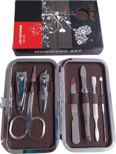 Aone Manicure and Pedicure Non-Leather 7 in 1 Stainless Steel Travel & Grooming Kit (7 ml, Set of 1)